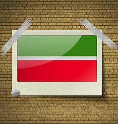 Flags tatarstanat frame on a brick background vector