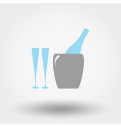 Bottle in ice bucket and glasses icon vector