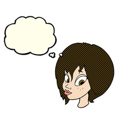 Cartoon pretty female face pouting with thought vector