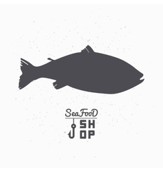 Salmon fish silhouette seafood shop branding vector