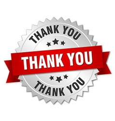 Thank you 3d silver badge with red ribbon vector