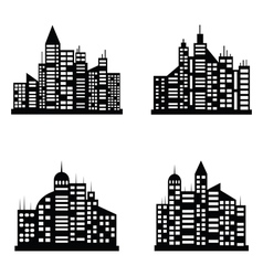 Black city icons set vector