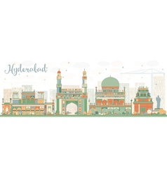 Abstract hyderabad skyline with color landmarks vector