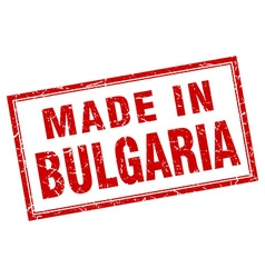 Bulgaria red square grunge made in stamp vector