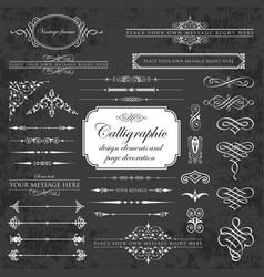 calligraphic design elements on chalkboard vector image