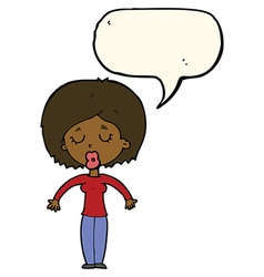 cartoon woman with closed eyes with speech bubble vector image