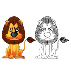Doodle animal for wild lion vector