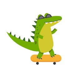 Funny cartoon crocodile character riding vector