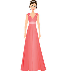 Girl in a prom dress vector
