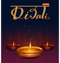 Happy diwali festival of lights retro oil lamp on vector