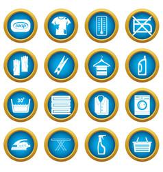 laundry icons blue circle set vector image