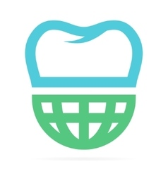 Logo combination of world and tooth vector