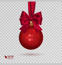 realistic christmas ball with red ribbon isolated vector image vector image