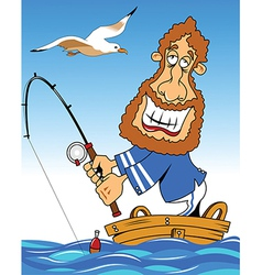 Sailor fishing vector image vector image