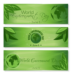 Set green banners for world environment day vector