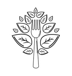 Silhouette fork kitchen tool with leaves vector