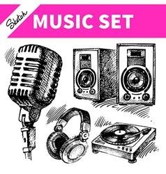 Sketch music set vector image