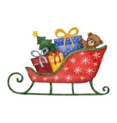 Watercolor sleigh with presents christmas tree vector