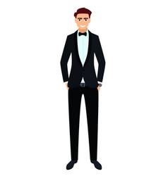 Young man in a black tuxedo vector