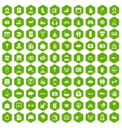 100 family icons hexagon green vector