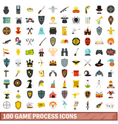 100 game process icons set flat style vector