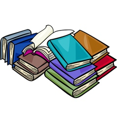 Heap of books cartoon vector