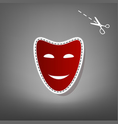 Comedy theatrical masks red icon with for vector