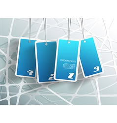 Four hanging blue cards You can place your own vector image
