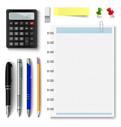 Collection of office supplies on a white vector