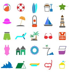 Beach color icons on white background vector
