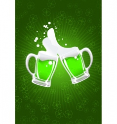 Two st patrick's beer mug vector
