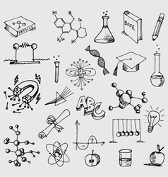 Science symbols doodles vector