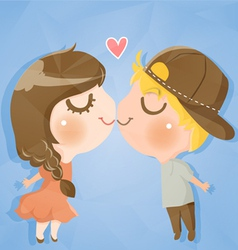 Couple cute boy and girl vector