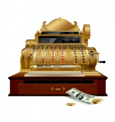 Vintage cash register vector
