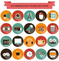 Communication technology icons shadow vector