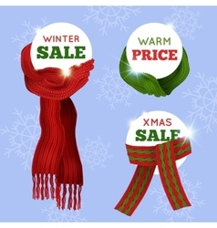 Knitted Scarf Sale Card vector image