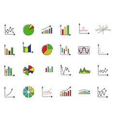 Charts colorful icons set vector