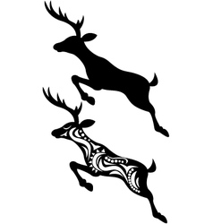 Deer jumping silhouette vector
