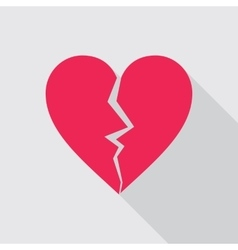 Broken heart flat icon in red color vector