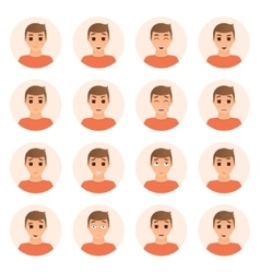 Set of boy emotions icons vector