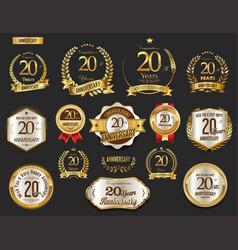 Anniversary golden laurel wreath and badges 20 vector