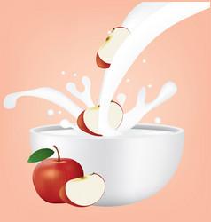 Apple in milk splash vector