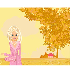 Beautiful girl in autumn park vector
