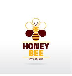 Bee honey logo icon with cartoon flat honeybee vector image