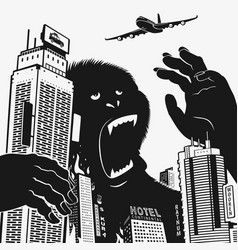 Big gorilla monster in the center of the city vector
