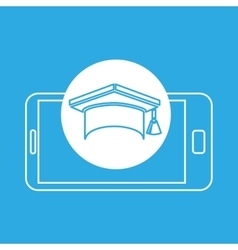 Cap graduation mobile device education vector