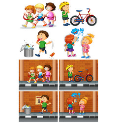 Children playing with friends on the road vector