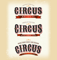 circus banners on vintage background vector image vector image