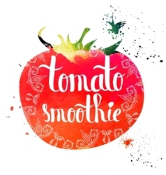 Colorful bright hand lettering poster tomato vector image