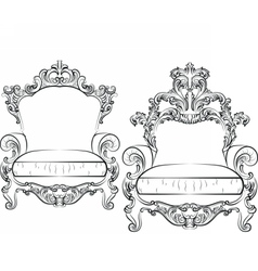Elegant armchair set with luxurious rich ornaments vector